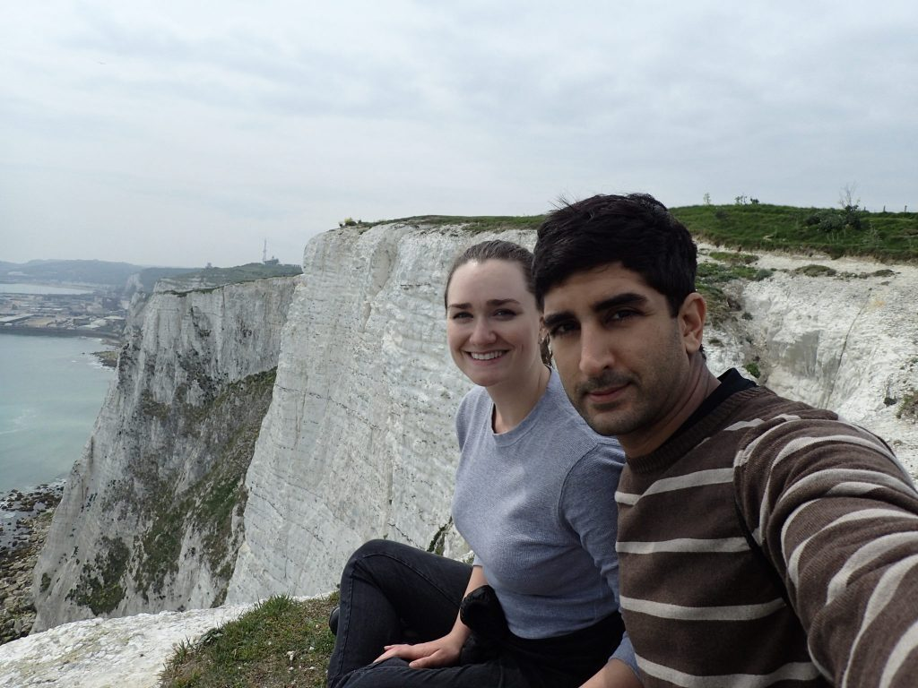 rachel and sameer by cliffs